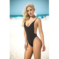 Black High Cut Hip Leg Open Side Brazilian Cheeky One Piece Swimsuit