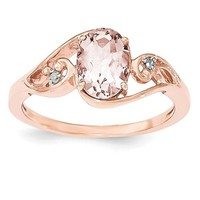 Sterling Silver Rose Gold Plated Oval Morganite & Diamond Ring