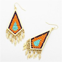 HauteChicWebstore Women's Textured Beaded Kite Drop Earrings at www.shophcw.com
