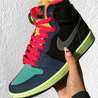 NIKE Air Jordan 1 AJ1 Hackers color splicing high top shoes