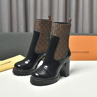 lv louis vuitton trending womens men leather side zip lace up ankle boots shoes high boots 25