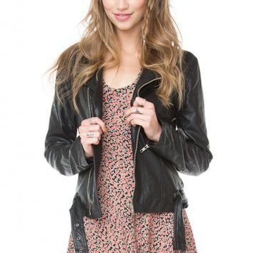 Brandy ♥ Melville |  Zip Up Leather Jacket - Tops - Clothing
