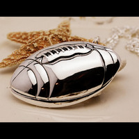 Football Pendant and Necklace in Silver