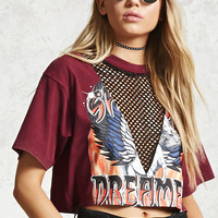 Graphic Net Panel Crop Top