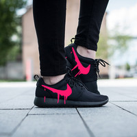 Nike Roshe Triple Black with Custom Pink Candy Drip Swoosh Paint