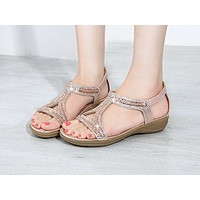 Fashion sandals hollow triangle rhinestone sandals soft-soled wedge heels flat women's shoes
