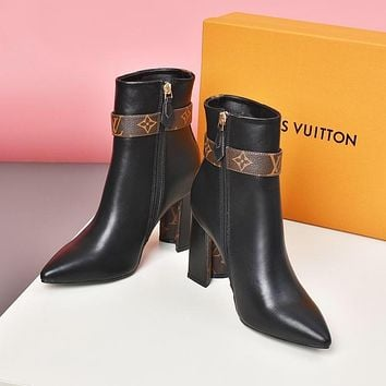 lv louis vuitton trending womens black leather side zip lace up ankle boots shoes high boots 298