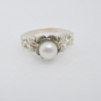 Vintage Sterling Silver Cultured Pearl Ring Size 7