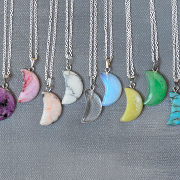 Crescent Moon Gemstone Pendant Silver Chain Necklace / Opalite / Turquoise / Quartz / Crystal