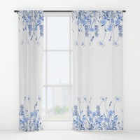 """Window curtains - Single or Double Panels, 50""""x84"""" each, Home, Decor, Bedroom, Kitchen, Style, Blue, White, Gift, Designer, Abstract, Modern"""