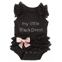 New Brand Baby Girl Clothes Baby Rompers Diamonds Letter New Born Little Girl Romper Jumpsuit Sleepers Black Baby Kids Outfits
