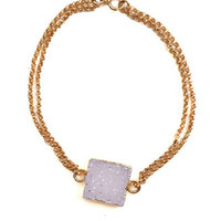 Double Chain 14K Gold Filled Square Lux Quartz Bracelet