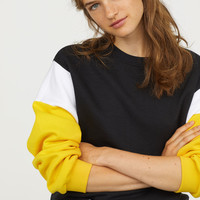 Color-block Sweatshirt - Black/yellow - Ladies | H&M US