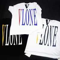 2018 men women fashion t-shirt kanye west V letter lone hip hop streerwear tops tee summer colors limited funny t shirt