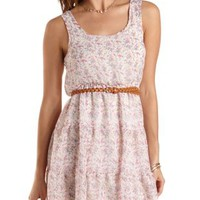 Belted Floral Print Chiffon Dress by Charlotte Russe