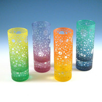 Painted Shooter Glasses with Bubbling Arrows by woodeyeglass
