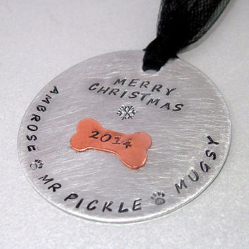 Personalized Pet Aluminum and Copper Christmas Ornament, your dogs names or other wording, 45 character max
