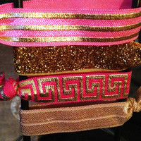 Pink and Gold Pattern Hair Tie Yoga Band Ponytails Set