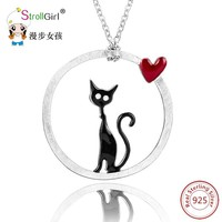 StrollGirl Authentic Silver Cat Love Heart Necklace Girl 925 Silver Lovely Kitty Pendants & Necklaces for Women Fashion Jewelry