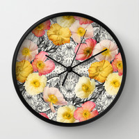 Collage of Poppies and Pattern Wall Clock by Micklyn | Society6