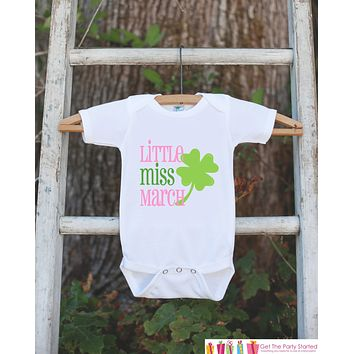 Little Miss March Onepiece Bodysuit - Take Home Outfit For Newborn Baby Girls - Lucky Green Clover Infant Going Home Hospital Onepiece