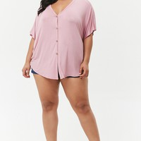 Plus Size Slub Knit Button-Front Top