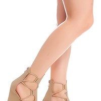 TAUPE FAUX LEATHER OPEN TOE BACK ZIPPER LACE WEDGES