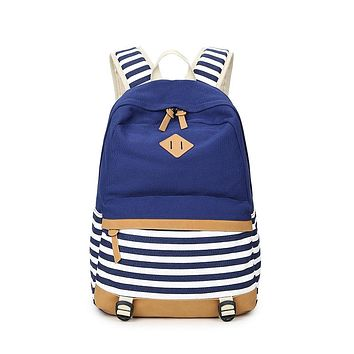 Westcreek Preppy Bagpack Female Canvas Striped Printing Backpack Women Computer Back Pack Lady School Bags for Teenagers Girls