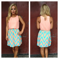 Peach & Blue Chevron Print Dress