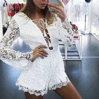 White Lace Romper 13316
