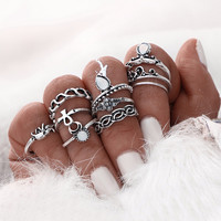 10pcs/Set  Midi Ring Sets For Women Vintage Turkish Design