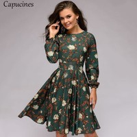 New Fashion Women Printing A-line Dress Ruffles O-Neck Long Sleeve Dress Lantern Sleeve Club Party Mini Dresses
