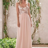 New Arrival Rose Gold Bridesmaid Dresses A Line Spaghetti Straps Backless Sequins Chiffon Wedding Party Dress