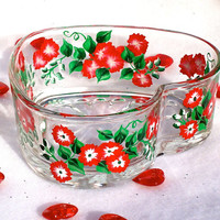 Heart Shaped Glass Bowl With Flowers