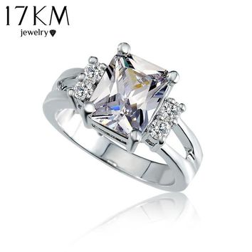 17KM Crystal Shop Brand Design Delicate  Square Big Stone Austrian Crystal Engagement Ring Zircon Wedding Rings For Women
