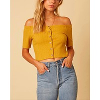 Cotton Candy LA - Button Up Knit Off The Shoulder Crop Top in Mustard