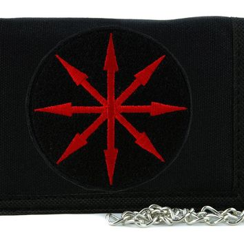 Red Chaos Star Symbol of Eight Arrows Tri-fold Wallet with Chain Occult Clothing
