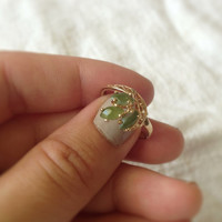 Vintage Gold Jade Fairytale Ring, Size 7.