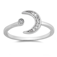 Sterling Silver CZ Simulated Diamond Staccato Moon Ring 9MM