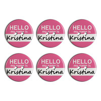 Kristina Hello My Name Is Plastic Resin Button Set of 6