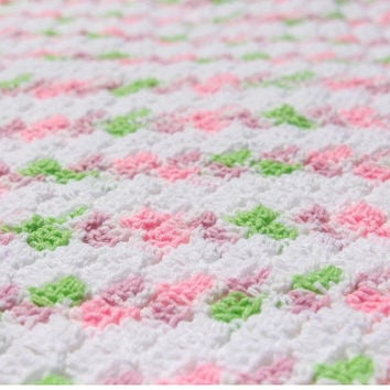 Pink and Green Baby Blanket, Striped Crochet Baby Blanket, Striped Baby Blanket, Crochet Baby Afghan, Hand Crochet Afghans Pink Girl Blanket