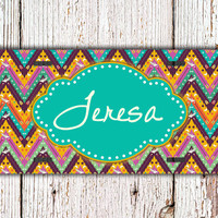 Monogram gift, license plate monogrammed car tag - Aztec tribal design with aquas, yellow, purple - Aztec liense plate tribal car tag (9996)