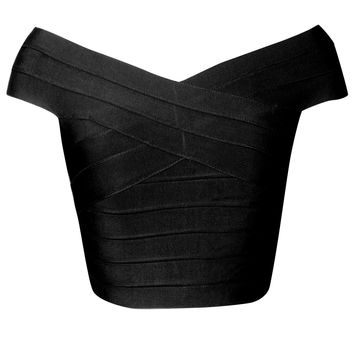 Off The Shoulder Black Bandage Crop Top