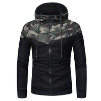 Fashion Patchwork Men's Hoodies Zipper Camouflage Long Sleeve Hooded Sweatshirt  For Male Casual Tops Coat Outwear Autumn #L5
