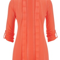 Open Stitch Striped Cardigan With Roll Tab Sleeves - Living Coral
