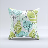 Green Blue Subtle Seamless Leaves Ink-Fuzed Decorative Throw Pillow