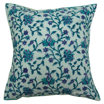White Hand Block Floral Accent Pillow Sham