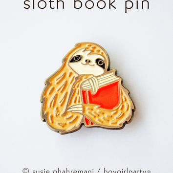 Sloth Book Pin - Bookish Sloth Enamel Pin - Book Enamel Pin by boygirlparty