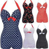 New Women Polka Dot Plus Size Sexy Padded Bathing Suit