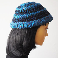 Blue hat - Ready to ship - Fashion knit hat - Denim & navy hat - Crocheted cloche - Womans chunky knit hat - Warm winter hat - Teen girl cap